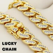 "18K GOLD FINISH ICED OUT LAB DIAMOND CUBAN LINK CHAIN NECKLACE30""x12mm 205g A31"