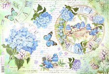 Ricepaper for Decoupage Decopatch Scrapbook Craft Sheet Butterfly and Hydrangea