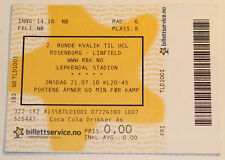 Ticket for collectors CL Rosenborg BK Linfield FC Norway Northern Ireland