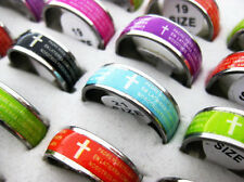 Wholesale Jewelry Lots 20pcs Stainless steel Scriptures Rings free shipping