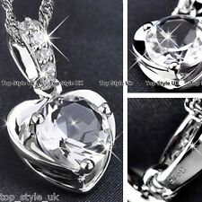 925 Sterling Silver Crystal Diamond Necklace Pendant Christmas Gift for her Wife