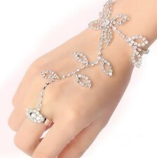 Crystal Rhinestone Leaf Hand Harness Bracelet Slave Chain Link Foot Finger Ring