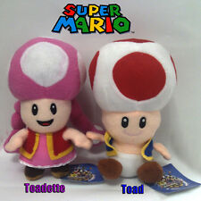 2X Super Mario Bros Plush Male Toad Female Toadette Soft Toy Stuffed Animal 6""