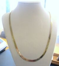 "LQQK Solid 14K Yellow GOLD Flat Herringbone Necklace heavy 20"" long 4.85mm wide"