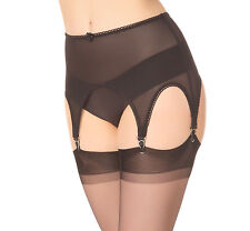 Garter Suspender belt mit 6 with Metal Clips. Size S, Retro Powermesh