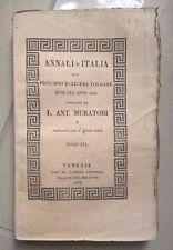 ANNALI D'ITALIA DALL'ERA VOLGARE SINO AL 1750-DAL 1796 AL 1797 ED. 1835 MURATORI