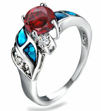 Blue Fire Opal Rainbow Ruby & CZ Women Jewelry Silver Plated Ring Size 8 PM08