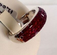 $8,000 Damiani Italy 18k White Gold Ruby 6mm Wide Band Ring NEW size 6.5