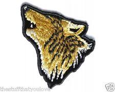 """(C57) Mini WOLF HEAD 1.5"""" x 1.5"""" iron on patch (3787) Biker vest"""