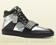 GUCCI Mens 11G silver/black BOARD Limited Edition DOG TAG High Top sneakers NIB