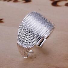 New Women Men 925 Sterling Silver Fashion Trendy Multi Line Open FingerRing Gift