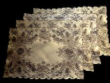 Four Old Vintage Unbleached Linen Placemats Richly  Embroidered Floral Motif