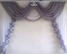 Deko GARDINEN VORHÄNGE BOGEN  ÜBERGARDINEN Curtains Weiß - Silbergrau  Nr. 334