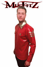 Misfitz rubber latex red/silver military shirt. Chest sizes s,m,l,xl,2xl,3xl