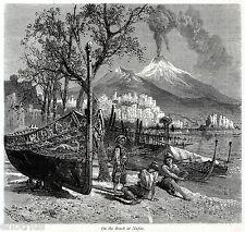 NAPOLI CAPITALE: On the Beach.Sulla Spiaggia,Costumi.Vesuvio. Stampa Antica.1878
