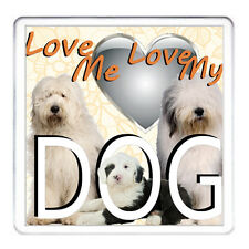 LOVE ME LOVE MY DOG OLD ENGLISH SHEEPDOG coaster drinks mat table protector