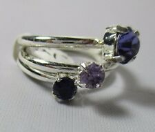 3 Ring Set Stack Amethyst Purple Shade Solitaire Cubic Zirconia Size 8 NWT T24
