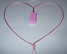BIRTHDAY PARTY FAVORS 6 PINK LEGO BRICK BLOCK NECKLACES  PINK CORDS