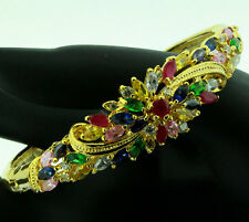 FASHION JEWELRY GEMS 14K YELLOW GOLD RUBY SAPPHIRE lady BANGLE BRACELET U101