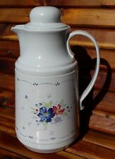Retro Large Plastic Insulated Carafe with Lid White with Flowers - Neat!
