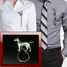 Pewter english bull terrier ppd2 Brooch drop hoop Holder For Glasses , Pen , ID
