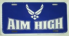 USAF AIM HIGH LICENSE PLATE Air Force Embossed Aluminum NEW Armed Forces USA Tin