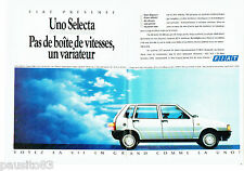 PUBLICITE ADVERTISING 086  1987  la Fiat Uno Selectra (2pages)