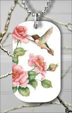 "BIRD HUMMINGBIRD FLY OVER ROSE FLOWER DOG TAG PENDANT and ""FREE CHAIN"" -ygh3Z"
