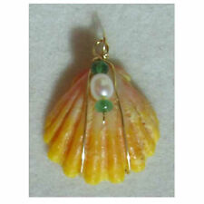 Sunrise Shell Pendant with Pearl & Emerald Handcrafted in Hawaii.25MM SSP-702-3