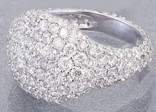 18K White Gold Round Cut Diamond Ring Eternity Style Pinky Micro Pave 2.50ctw
