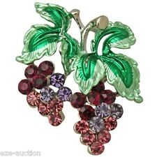 Gorgeous Enameled Grape Wine Crystal Brooch Pin - Comes In Gift Box