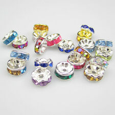 NEW for jewelry 100pcs Size 8MM Plated silver crystal spacer beads mixed colors