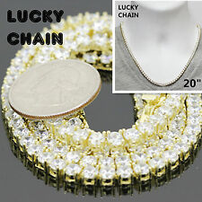 """20""""925 STERLING SILVER ICED OUT TENNIS GOLD CHOKER CHAIN NECKLACE 4mm 41g RO16"""