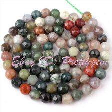 4MM FACETED ROUND SHAPE MULTICOLOR INDIAN AGATE GEMSTONE SPACER BEADS STRAND 15""