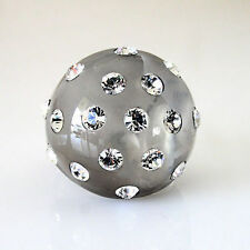 New Gray Acrylic Domed Ring Clear Crystal Elements By Swarovski On Dome Size 8