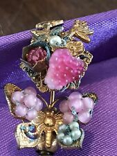 Vintage Signed Miriam Haskell Butterfly  Faux Baroque Pearls Stick Pin