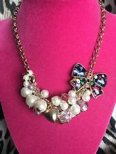 Betsey Johnson Betseyville Floral Lucite Bow Pink Rose Pearl Cluster Necklace