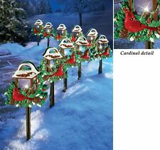 Set of 10 Christmas Cardinal Lantern Path Lights Outdoor Yard Lawn Driveway New