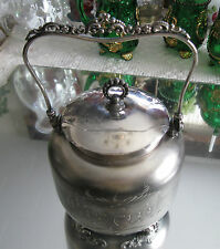 ANTIQUE HAND ETCHED'' WR  NEW YORK '' SILVER PLATE BISCUIT BARREL COOKIE JAR