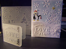 SIZZIX Embossing folders Combo PENGUIN & CHRISTMAS TREE & SENDING CHRISTMAS LOVE