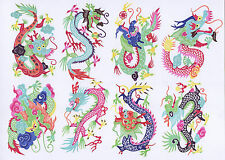 Chinese Paper Cuts - Eight Dragon Set (8 colorful small pieces) Chen