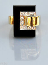 1970s CARTIER Space Age Cubist Futuristic Diamond Onyx Ring in 18K Gold