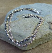New 925 Sterling Silver Rose Gold, Yellow Gold and Oxidised Silver Three Strand