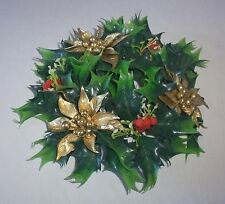 Vtg Plastic Poinsettia Holly Berry Candle Ring Christmas Wreath Decor Gold Green