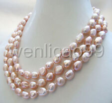 """48"""" real nature purple baroque freshwater pearl necklace 10-11mm"""