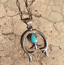 Navajo Sterling Silver And Turquoise Sandcast Naja Necklace