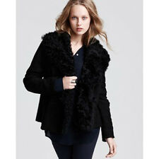 Vince Curly Lamb Suede Shearling Jacket - Black - Size S