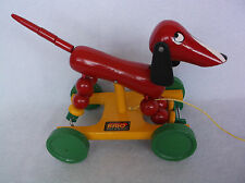 Vintage Brio Wood Dog Dachshund Weiner Pull Toy – Made in Sweden