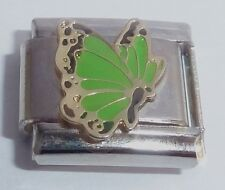 LIGHT GREEN BUTTERFLY 9mm Italian Charm fits Classic Starter Bracelets - August