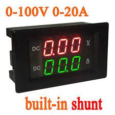 0-100V 20A DC Digital LED Voltmeter Ammeter Amp Volt Tester Meter shunt 12v CAR